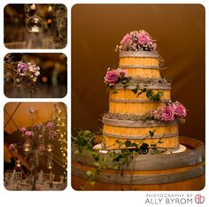 Glass baubles, candles, moss trees, roses, gypsophelia for an earthy and rustic styled wedding.  Wedding cake styled on a barrel.