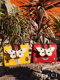 New top handle bags feature a large moth detail in resin with mother-of-pearl effect and printed insects from Gucci Fall Winter 2017.