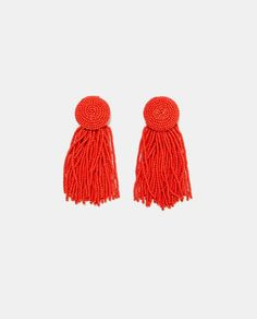 Image 1 of BEADED EARRINGS WITH FRINGING from Zara