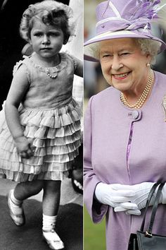 Queen Elizabeth ll then and now. Amazing picture for Queen Elizabeth II when she was a child. Lady Diana, Die Queen, Prinz William, Celebrities Then And Now, Isabel Ii, Her Majesty The Queen, Prince Phillip, Queen Of England, Royal Families