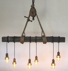 Beautiful, Rustic, Espresso-Stained, White-Oak-Beam Chandelier with Dimmable LED Edison Bulbs from my Etsy shop! https://www.etsy.com/listing/292829541/beautiful-rustic-espresso-stained-white