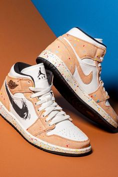 """The Air Jordan 1 Mid receives a makeover imagined through the lens of an artist on the """"Brushstroke"""" design. Among the shoe's more adventurous colorways, the unique look is rich in details that include paint splatters and a brushstroke Swoosh. Jordan 3, Brush Strokes, Air Jordans, Sneakers, Unique, Lens, Paint, Shopping, Shoes"""