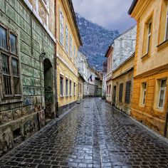 Brasov, Transylvania, Romania - I want to see more of Romania Places Around The World, The Places Youll Go, Places To See, Around The Worlds, Brasov Romania, Romania Travel, Between Two Worlds, Old Street, Mountain Resort