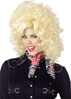country western wig blonde adult includes a big curled blonde wig available in one dolly parton costumewoman halloween - Halloween Costumes With Blonde Wig