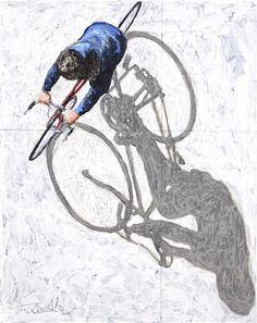 This painter does amazing shadow studies Artist: Jim Zwaldo Pedestrians Bicycle Painting, Bicycle Art, Bicycle Wheel, Bicycle Design, Bicycle Illustration, Art Et Illustration, Paper Journal, Ap Studio Art, Cycling Art