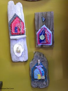 Driftwood and felted homes- by Fiona Connell of Sooke BC