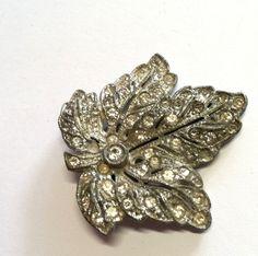 Magnificent Silvertone Pot Metal Leaf Fur Clip w/ Paste Rhinestones ci - Dorothea's Closet Vintage