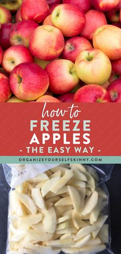 How to freeze apples – a step by step easy to follow guide for freezing apples. Whether they are freshly picked, or purchased from the grocery store, never waste a delicious apple again! Organize Yourself Skinny Healthy Meal Prep Recipes | Healthy Cooking Tips Healthy Freezer Meals, Healthy Meals For Two, Easy Healthy Dinners, Healthy Foods To Eat, Healthy Cooking, Cooking Tips, Healthy Desserts For Kids, Healthy Smoothies For Kids, Healthy Dessert Recipes