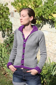 My almost Shapely Old Lady Pocketed Cardigan #knitting  #cardigan #free #pattern