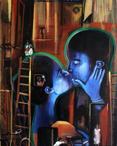 ' Love in ' - Contemporary Acrylic Painting Kiss Art, Amazing Art, Couple, Type, Painting, Painting Art, Paintings, Painted Canvas, Couples