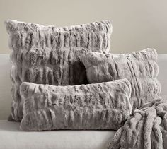 Ruched Faux Fur Pillow Cover - Gray | Pottery Barn