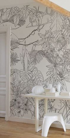 Ohmywall – Tropical Jungle Wallpaper in Black and White from Caddous & Alvarez artist duo widescreen format. 6 colors – 4 formats – 24 poss … - New Deko Sites Deco Design, Wall Design, Wall Drawing, Wall Murals, Room Decor, Interior Design, Trendy Wallpaper, Large Print Wallpaper, Wall Wallpaper