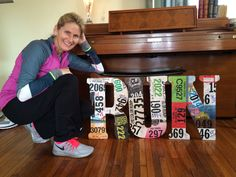 How to Mod Podge wooden letters with race bibs to create a wonderful craft gift to a loved one (or yourself!).