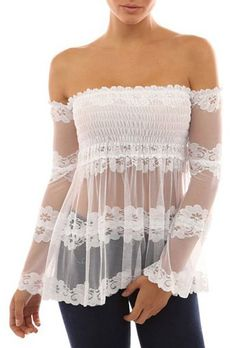 »Sexy Off-The-Shoulder See-Through Long Sleeve #Lace #Blouse« #fashion #fashionandaccessories #nastydress