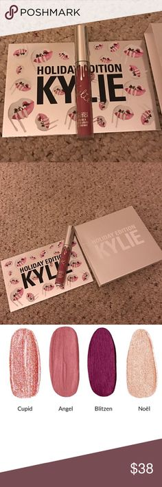 Kylie Cosmetics Holiday Edition Angel Kylie Cosmetics holiday edition Angel lipstick! Brand new never used out of the box lipstick! You will receive a Kylie box and a card from Kylie. This lipstick is sold out forever! Also selling the full set! *SELLING ON EBAY FOR CHEAPER* Kylie Cosmetics Makeup Lipstick