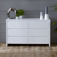 White High Gloss 6 Drawer Wide Chest of Drawers