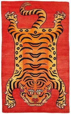 Tibetan Tiger Rug - Timbuktu to Tibet: Rugs and Textiles of the Hajji Babas - Tibet century Wool; knotted pile Photo by Don Tuttle Photography Illustration Photo, Tiger Illustration, Tibetan Rugs, Tibetan Art, Tiger Rug, Tiger Print, Tiger Tiger, Tiger Painting, Animals