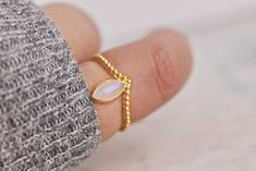 Zaleska Jewelry Moonstone Marquise Ring Gold Made in Vancouver, BC Canadian Jewelry Victoire Boutique