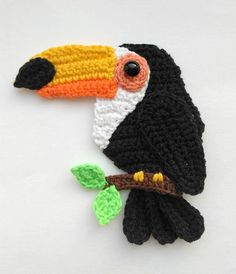 PATTERN Tropical Birds Applique Crochet Patterns PDF Toucan