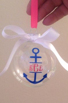 Nautical Christmas Ornament with Monogram and Anchor by PYdesigned, $10.00