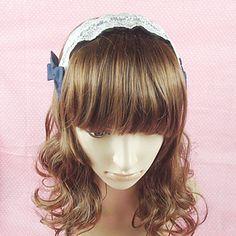 Handmade+White+and+Ink+Blue+Lace+Princess+Lolita+Headband+with+Bow+–+USD+$+10.79