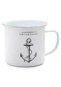 Anchor the Call Mug. While you save funds for international travel, let this aspirational anchor mug remind you of your globetrotting dreams! #white #modcloth