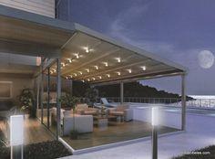 Pérgolas para terraza con iluminación integrada.