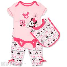 Minnie Mouse  Baby Creeper, Pants and Bib Set #Disney #MinnieMouse #BabyClothing #Bodysuits