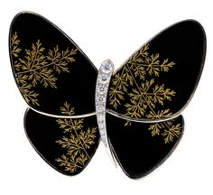 Van Cleef & Arpels Butterfly clip in lacquered letterwood