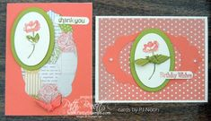 Apothecary Accents & Ovals Collection Framelits, Oh, Hello, Tea For Two DSP, Calypso Coral ribbon [122976], Lucky Limeade Ribbon [122977], Word Window punch, Pearls