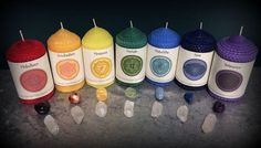 Chakra Candle and Gemstone Sets for Focused Energetic Work and Reiki Healing - Sage Goddess $20
