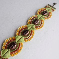 Micro macrame bracelet and earrings Green by MartaJewelry on Etsy