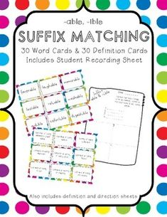 This FREE Worksheet Correlates Perfectly With The Prefix And Suffix