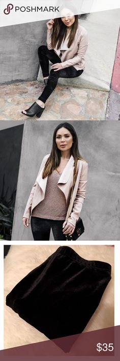 Velvet Leggings Super soft & stretchy black velvet leggings.  As seen on fashion blogger Marianna Hewitt.   *These are the EXACT pair of leggings she is wearing in the photos.  These are in pristine condition, worn only once.   Price is firm❕ Bar III Pants Leggings
