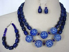 Royal Blue Statement Necklace, Blue Lapis Necklace, Double Strand, Chunky Necklace, 3 Piece Necklace Set