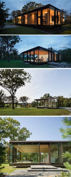 Desai Chia Architecture have designed a guest house that is situated on a rocky outcropping overlooking a trout pond and open farmland in upstate New York.