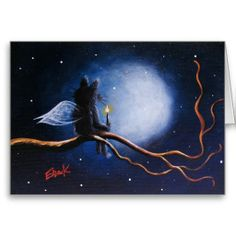 My Little Angel - Cute and whimsical artwork featuring a black kitty cat angel sitting up a tree and gazing at the night sky - Greeting / Birthday Card
