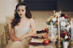 fall gothic bridal inspiration, bridal headpiece, romantic bridal hair inspiration, bride dark lip inspiration, dark lips wedding