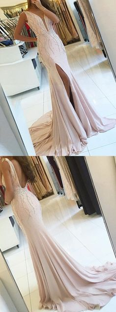mermaid pearl pink prom party dresses with beaded, fashion formal evening gowns