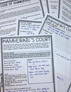 Hammurabi's Court {a fun and engaging activity to interpret Hammurabi's Code} Use this activity to help your or grade classroom or home school students better understand the Code of Hammurabi as you study Ancient or World History. 7th Grade Social Studies, Social Studies Projects, Social Studies Classroom, History Classroom, Teaching Social Studies, History Teachers, Classroom Rules, World History Projects, World History Teaching