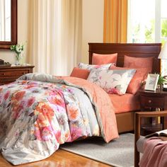 Orange Pink and White Blooming Flower Fairy Garden Rustic Style Asian Inspired 100% Brushed Cotton Full, Queen Size Bedding Sets