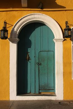 Photograph of Door with lanterns in Cartagena - Colombia - Central America Stairs Window, Doorway, Big Doors, Windows And Doors, Amazing Architecture, Architecture Details, Porches, Vacations To Go, When One Door Closes
