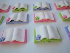 Fondant Cupcake Toppers Edible Books by cookiecovers on Etsy