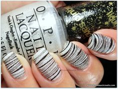 Water Marble using Orly Liquid Vinyl & clear polish over OPI Solitaire