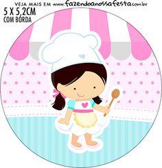 Adesivo redondo Festa Confeitaria - Fazendo a Nossa Festa Festa Baby Alive, Puding Art, Disney Princess Cupcakes, Address Label Stickers, Cupcake Logo, Bakery Business Cards, Bakery Logo Design, Baking Party, Food Drawing