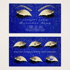 Loyalty Card 6 Beauty Makeup Lash Gold Crown Blue - glitter gifts personalize gift ideas unique #makeupideasglitter #makeupideasgold