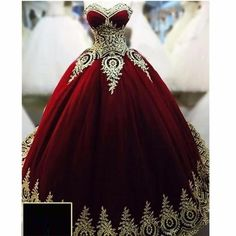 Ball Gowns Evening Dresses Dark Red with Gold Applique Quinceanera Dresses in…