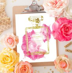 Pink water colour Chanel No5 print with gold effect by hellomrmoon