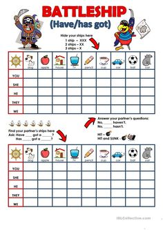 Have/has got - Battleship - English ESL Worksheets for distance learning and physical classrooms Teach English To Kids, English Activities For Kids, English Worksheets For Kids, Kids English, Teaching English, Learn English, English Resources, English Writing Skills, English Lessons