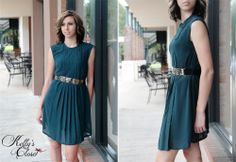 Green BETHANY Pleated Dress / Kelly's Closet Boutique